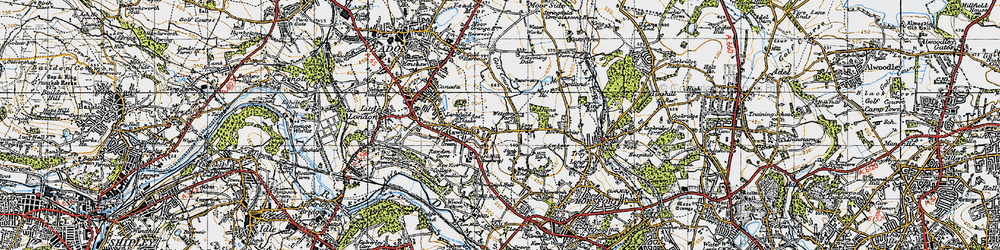 Old map of Lane Ends in 1947