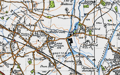 Old map of Lane Green in 1946