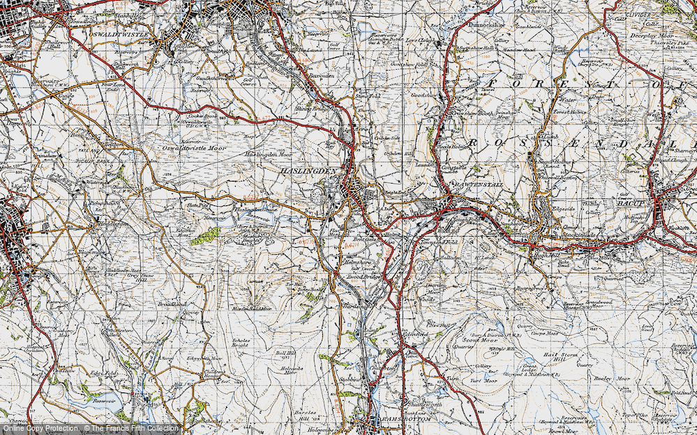 Old Map of Lane Side, 1947 in 1947