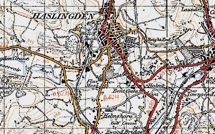 Old map of Lane Side in 1947