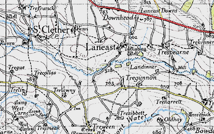 Old map of Laneast in 1946