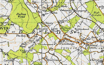Old map of Lanes End in 1946