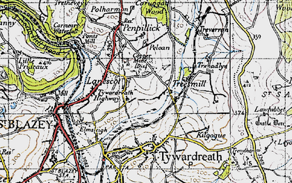 Old map of Lanescot in 1946
