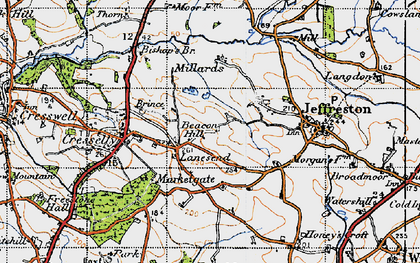 Old map of Lanesend in 1946