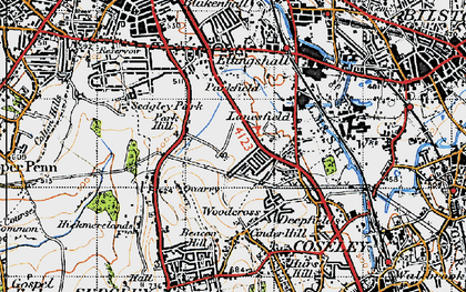 Old map of Lanesfield in 1946