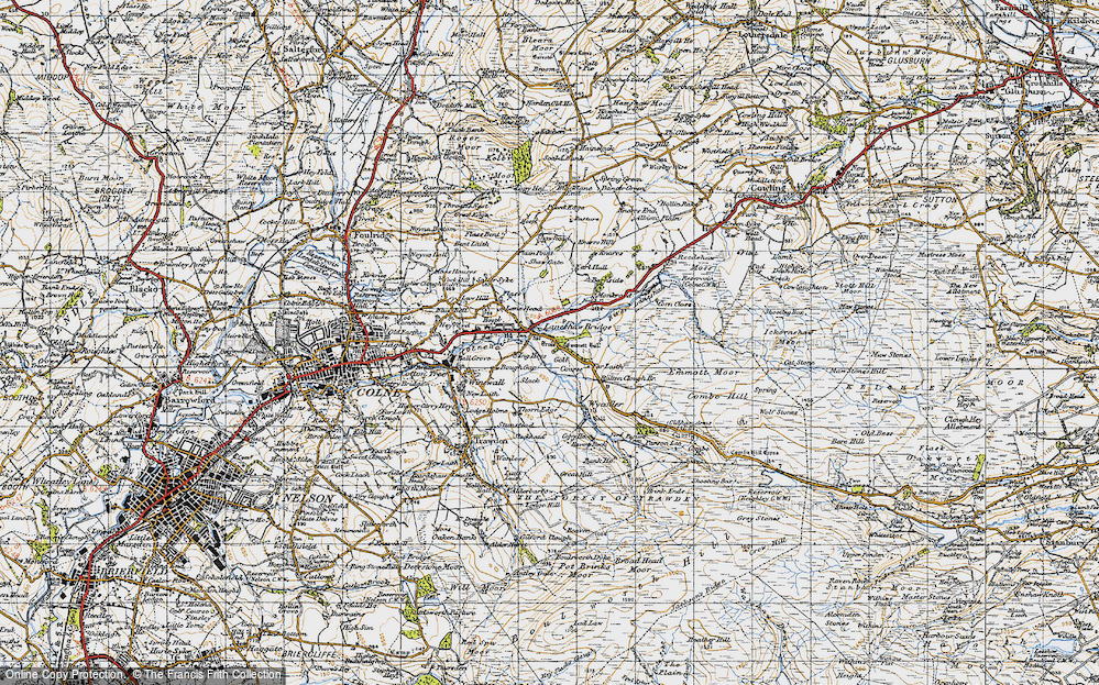Old Map of Historic Map covering Lane Head in 1947