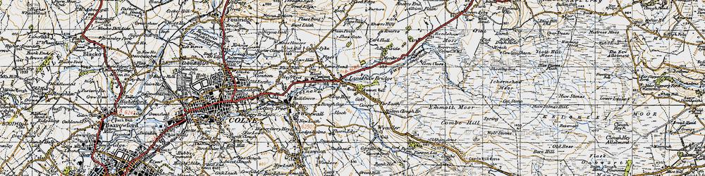 Old map of Laneshaw Bridge in 1947