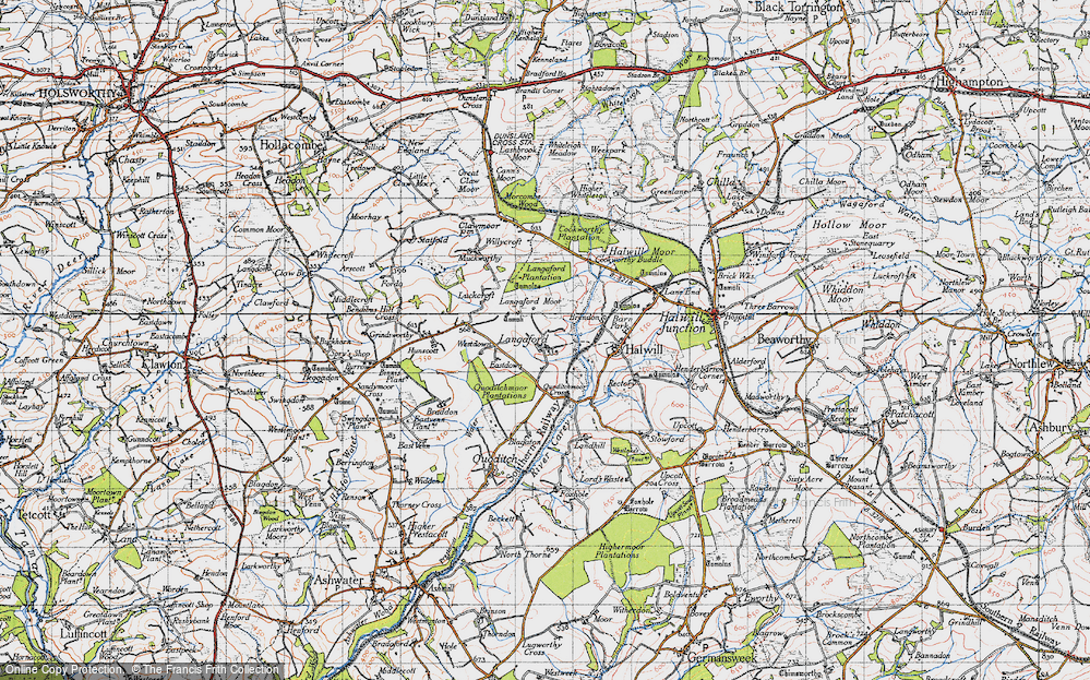 Old Map of Historic Map covering Langaford Moor in 1946