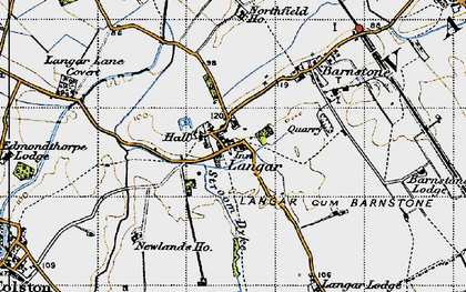 Old map of Langar in 1946