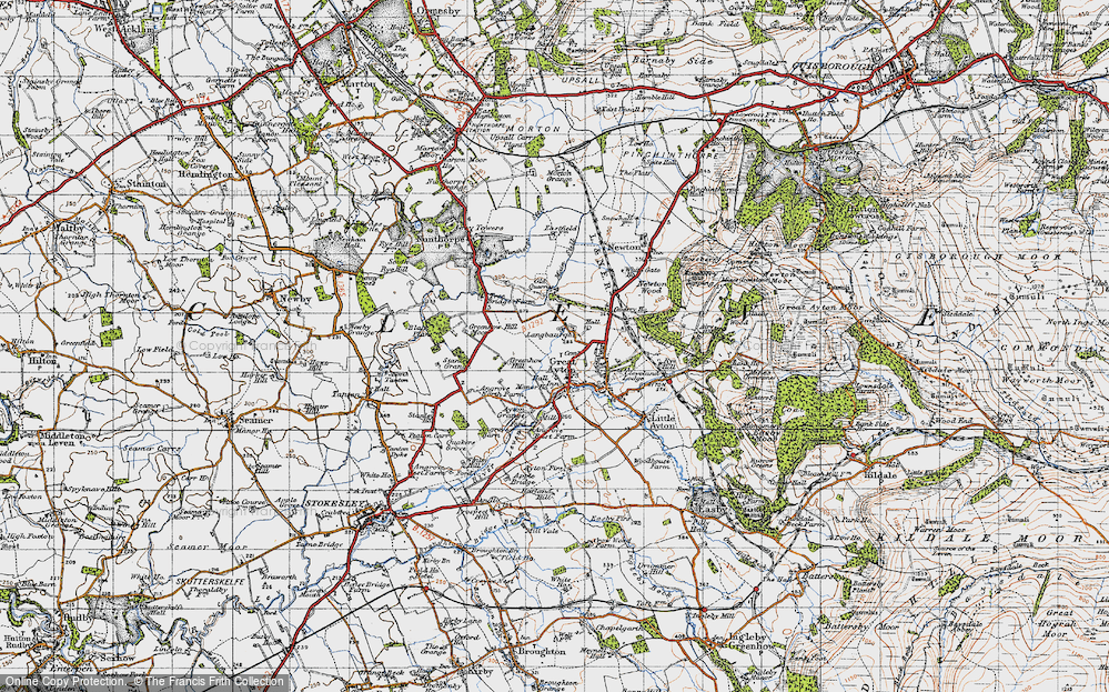 Old Map of Historic Map covering Ayton Firs in 1947