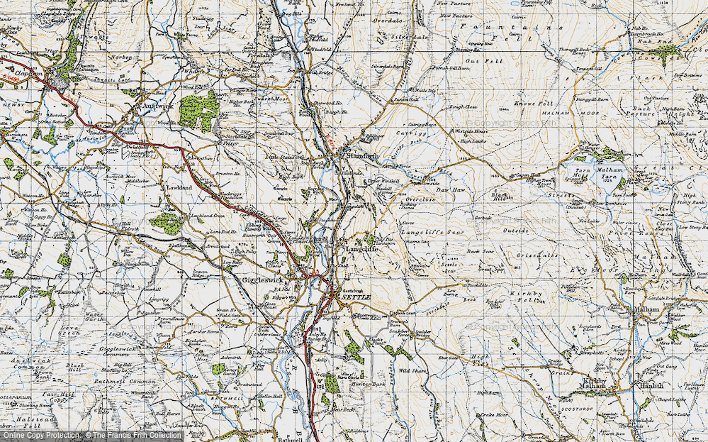 Old Map of Historic Map covering Attermire Scar in 1947