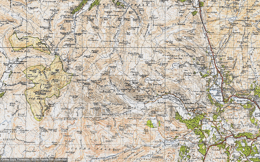 Old Map of Historic Map covering Ash Crags in 1947