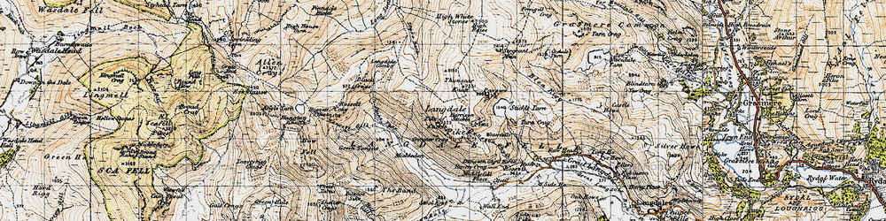Old map of Langdale Pikes in 1947