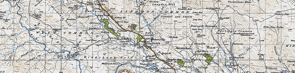 Old map of Langdon Beck in 1947