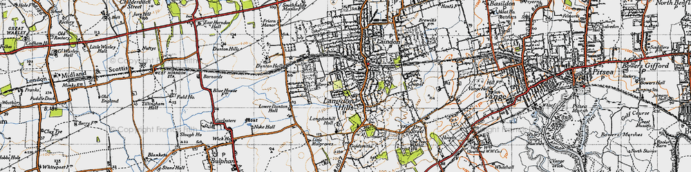 Old map of Langdon Hills in 1946