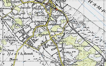 Old map of Langdown in 1945