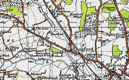 Old map of Langford in 1945
