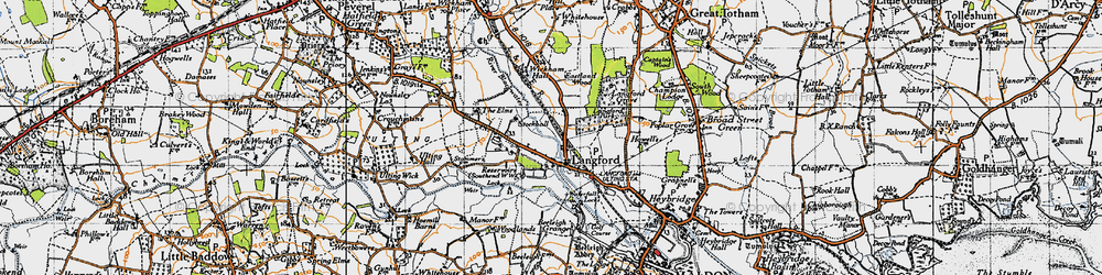 Old map of Wickham Place in 1945