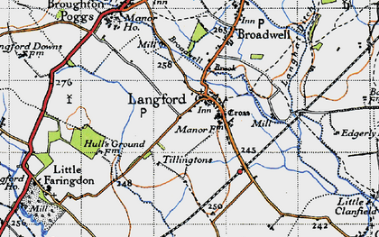 Old map of Langford in 1947