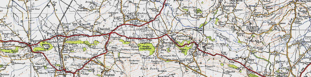 Old map of Langford Green in 1946