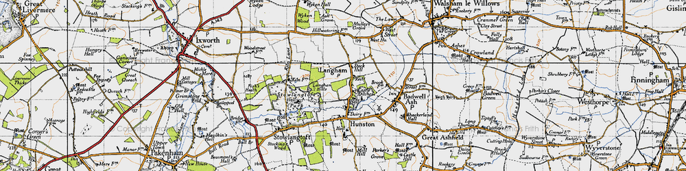 Old map of Langham in 1946