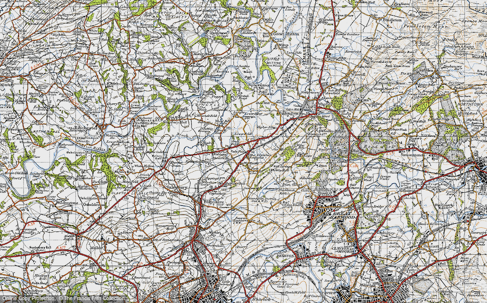 Old Map of Langho, 1947 in 1947