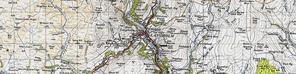 Old map of Whita Hill in 1947
