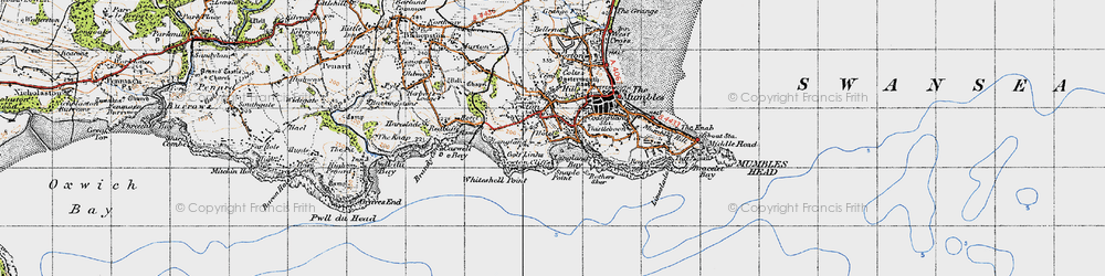 Old map of Langland in 1947