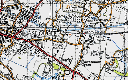 Old map of Langley in 1945