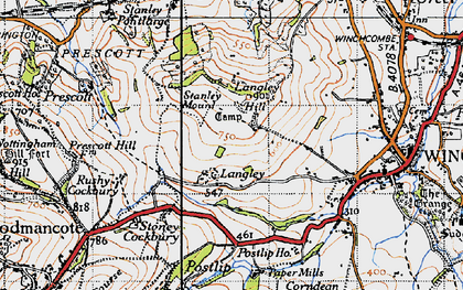Old map of Langley Hill in 1946