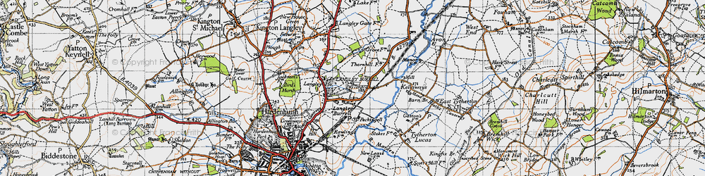 Old map of Langley Ho in 1947