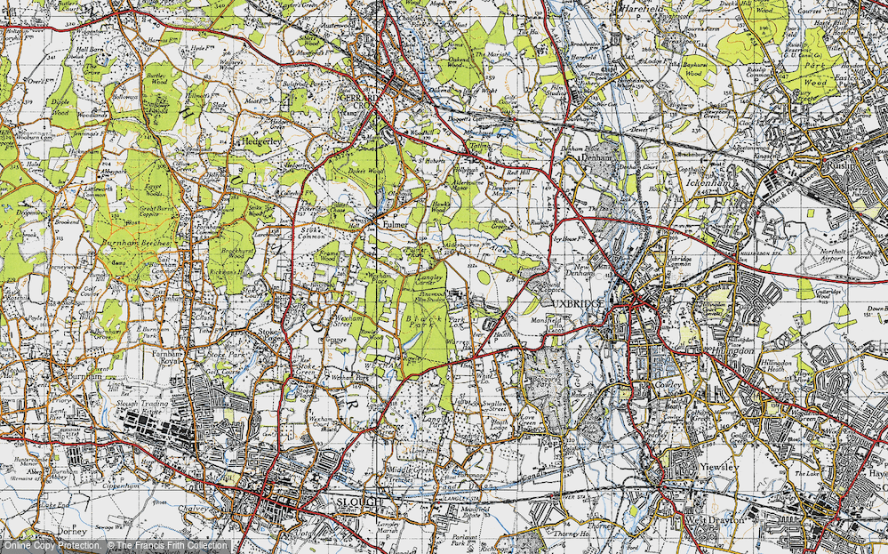 Old Map of Historic Map covering Alder Bourne in 1945