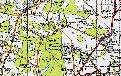 Old map of Alder Bourne in 1945