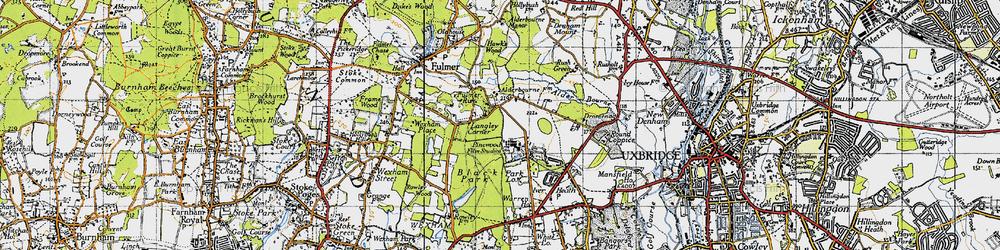 Old map of Alder Bourne in 1945