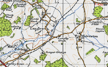 Old map of Langley Green in 1947