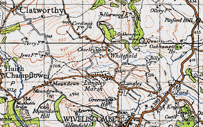 Old map of Langley Marsh in 1946