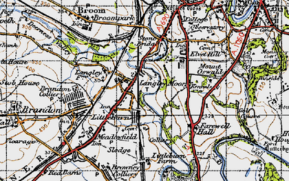 Old map of Langley Moor in 1947