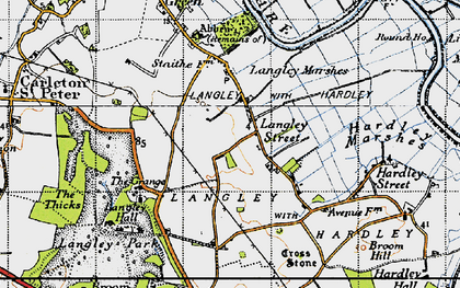 Old map of Langley Street in 1946