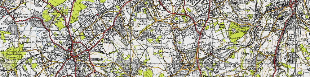 Old map of Langley Vale in 1945