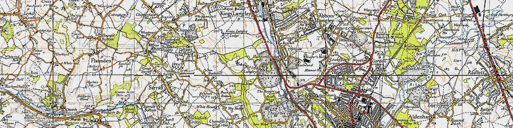 Old map of Langleybury in 1946