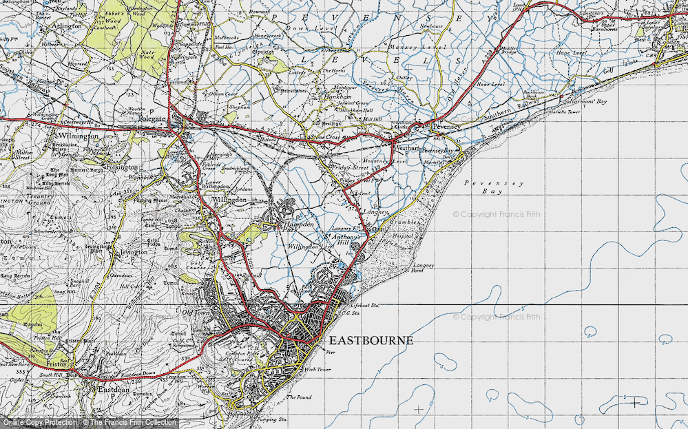 Old Map of Historic Map covering Langney Point in 1940