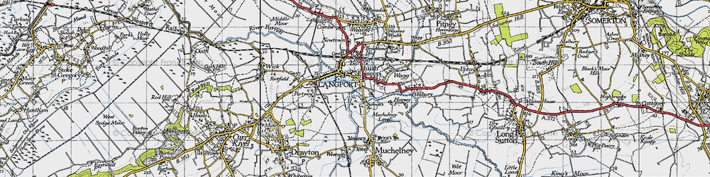 Old map of Langport in 1945