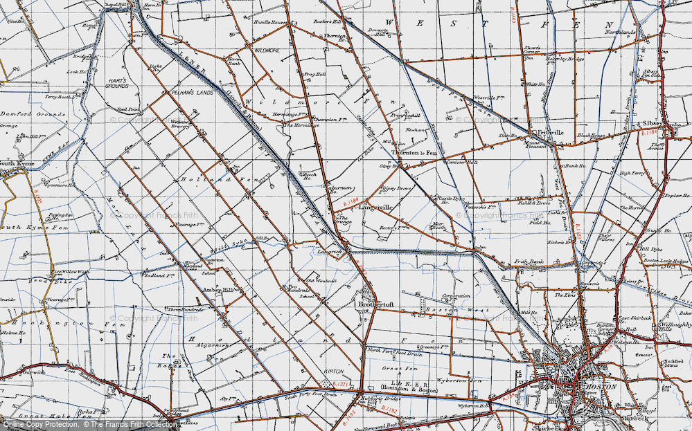 Old Map of Langrick, 1946 in 1946
