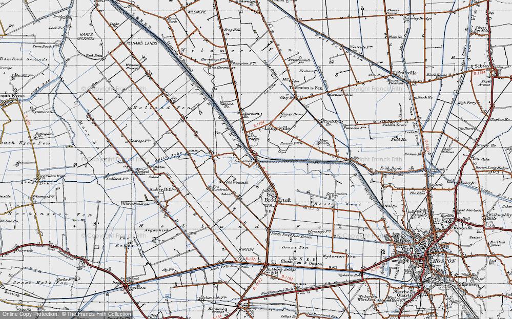 Old Map of Langrick Bridge, 1946 in 1946