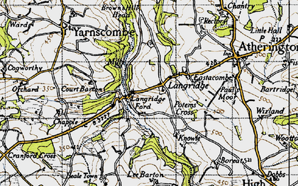 Old map of Langridgeford in 1946