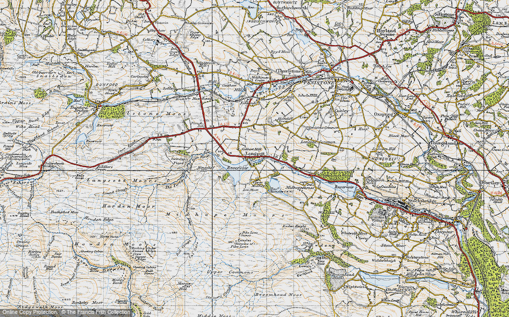 Old Map of Historic Map covering Langsett Resr in 1947