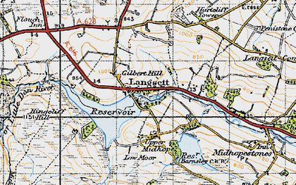 Old map of Langsett Resr in 1947