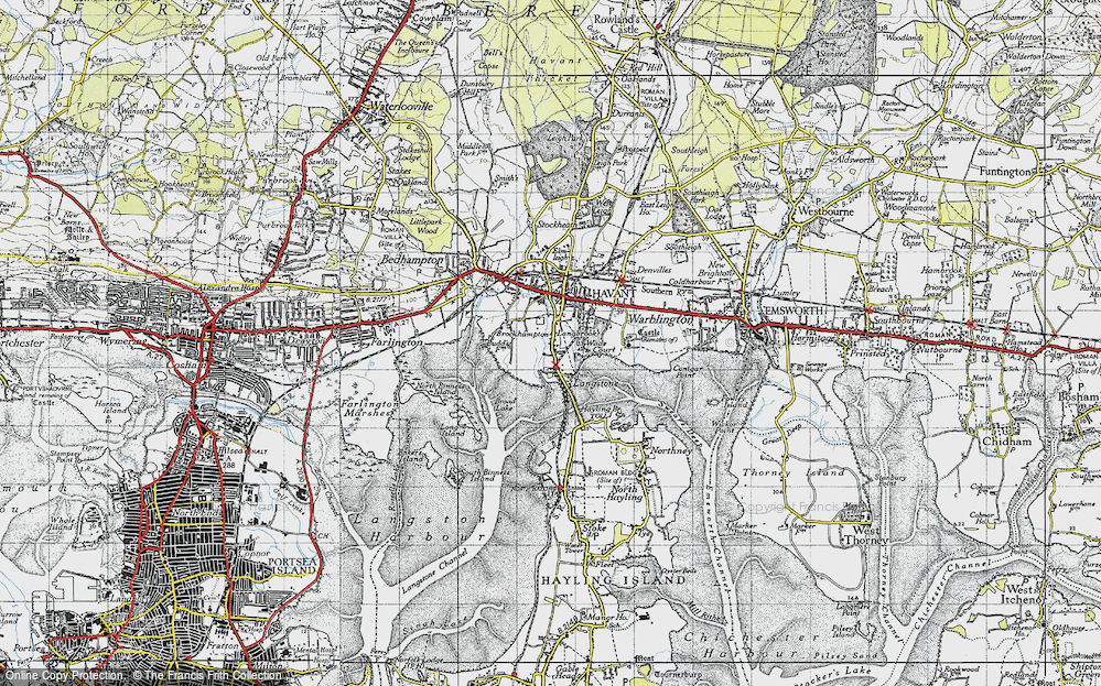 Old Map of Historic Map covering Langstone Bridge in 1945