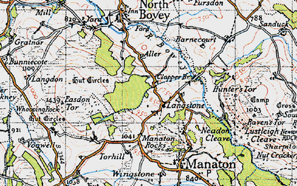 Old map of Aller in 1946