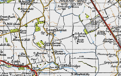 Old map of Ainderby Myres in 1947